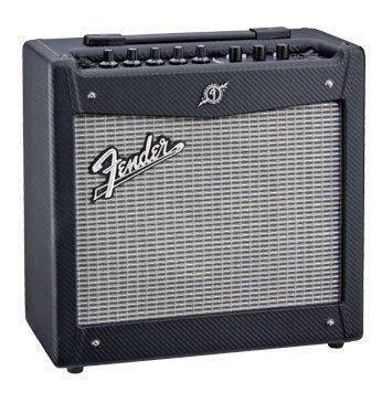 Fender Mustang I Amp. Great electric guitar practice amp or small performance amp. With the FUSE software it is many different amps in one. I love mine.