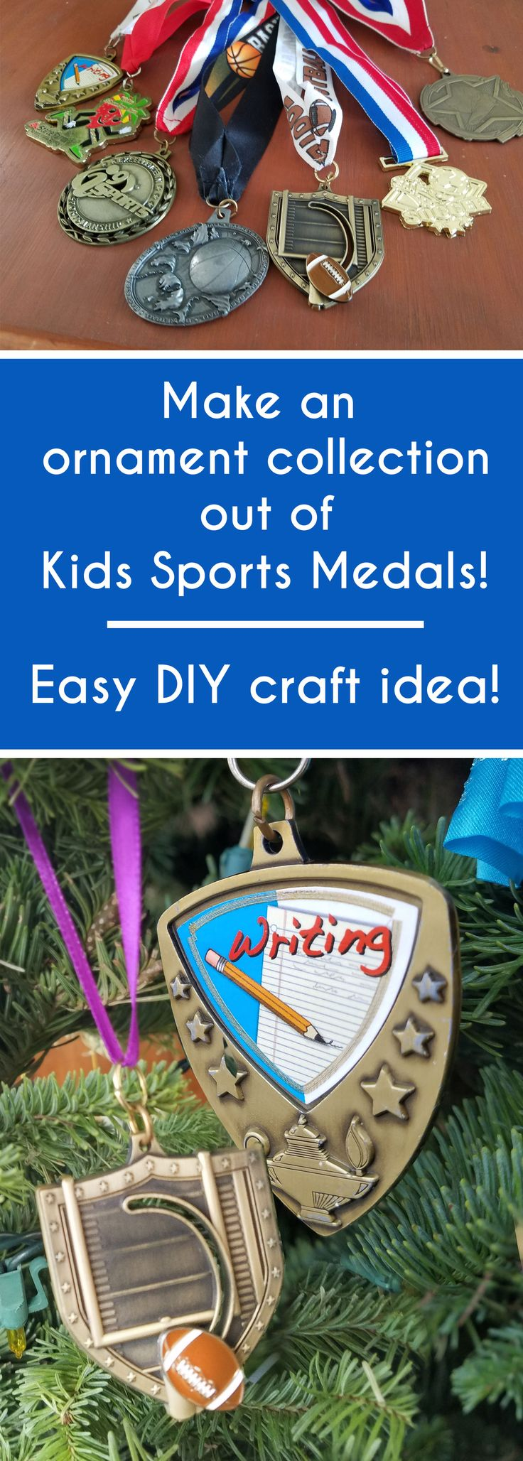 diy ornament out of kids sports medals - such an easy way to get it out of the drawers and display for years to come! Kids can even make these DIY crafts as gifts for proud grandparents! Make your race and fun run medals into ornaments too!