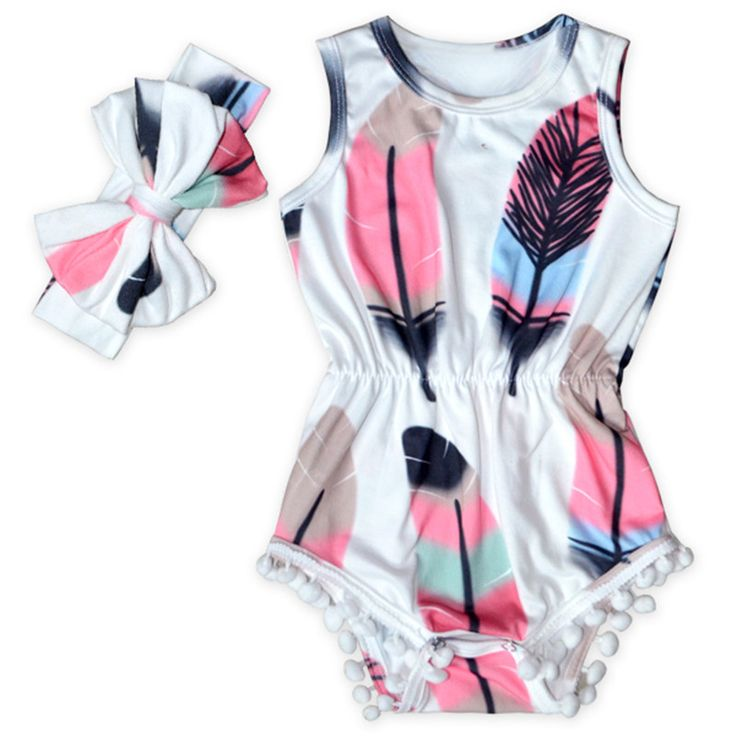 Cute Baby Clothes Feather Printed Baby Girls Bodysuit Set Sleeveless Pom Western Girls Clothing Factory Girls Sunsuit with Bow