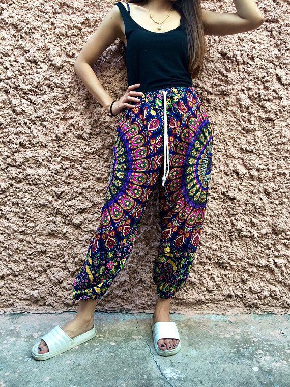 8cbad61bb4ebf Hippie Harem Yoga Pants Boho Festival clothing Exercise Beach Summer  bohemian Gypsy Mandala Indian Clothes Fashion Women men Gift for unisex
