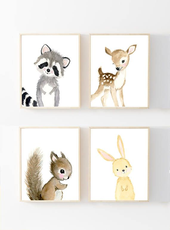 Woodland Animal Wall Art Nursery Prints Set Childrens Bedroom Decor Pictures A4