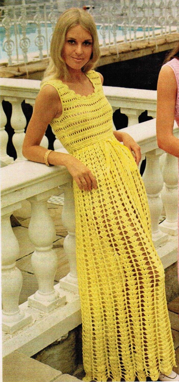 1970s Long Sleeveless Empire Waist Dress PDF Crochet Pattern. $2.25, via Etsy.