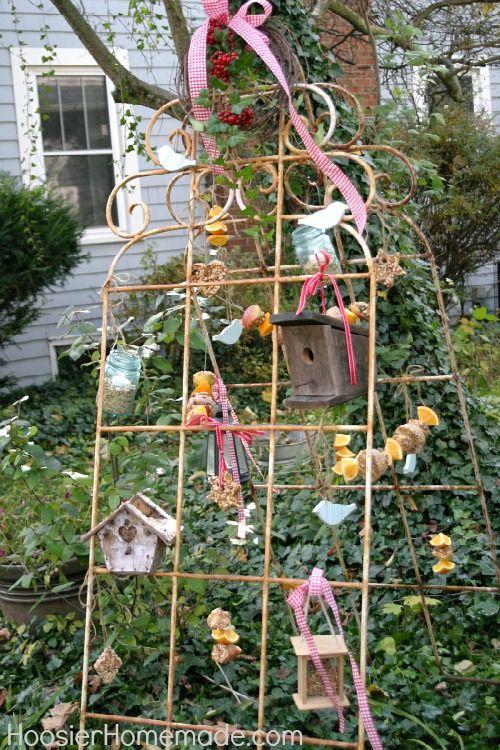 Vintage Recycled Bird Feeding Station