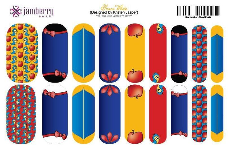 Snow White inspired nail wraps. Design your own in the Jamberry Nails at: www.lauraseguramolina.jamberrynails.net