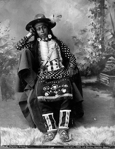 Nez Perce man, native american, indian, hat, feathers, culture, vintage, photo b/w.