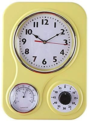 Lily S Home Retro Kitchen Wall Clock With A Thermometer And 60 Minute Timer Ideal For Any Yellow 9 5 In X 13 3