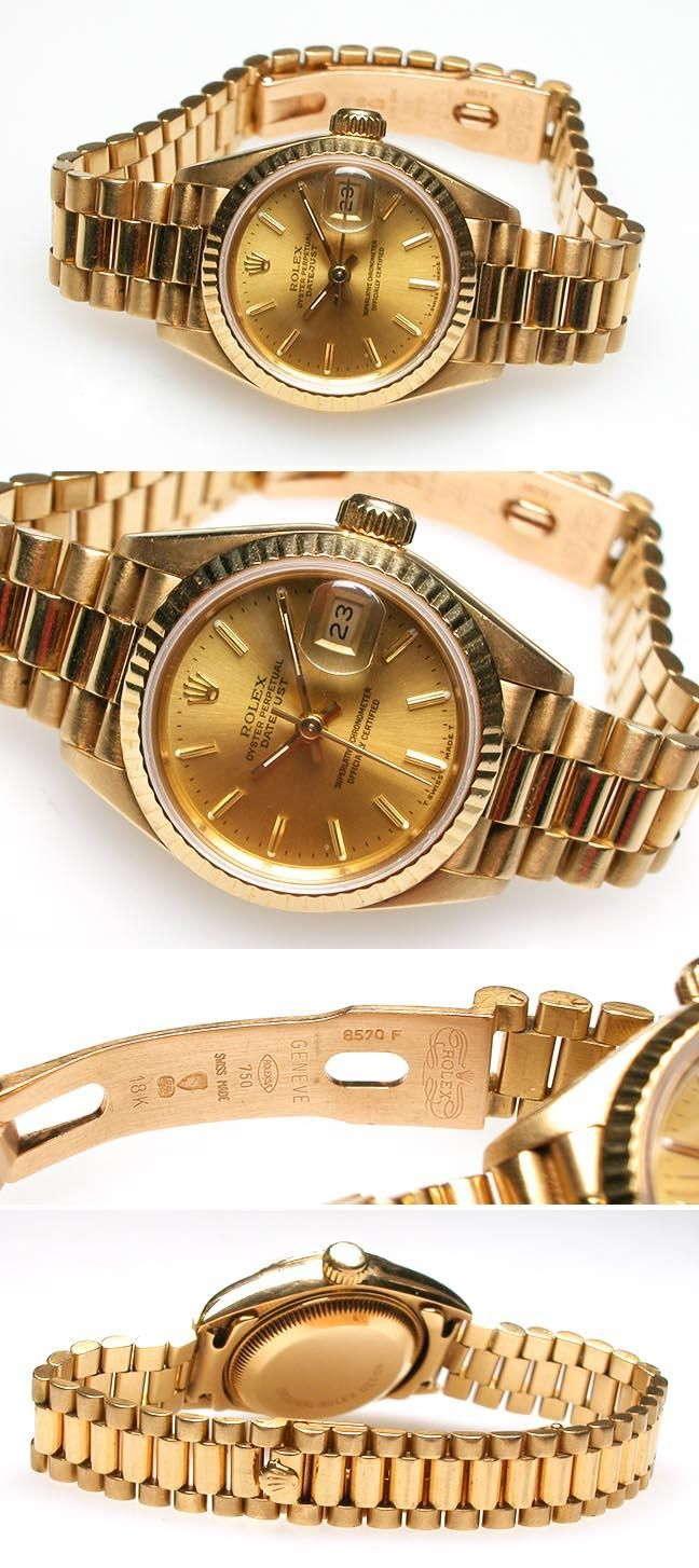 Rolex. I have tried this watch on. It retails for about 17,000. There's nothing quite like yellow gold. It instantly warms to the skin.