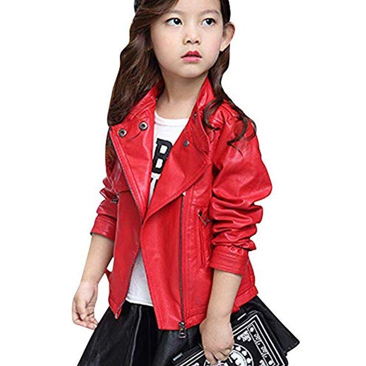 LSHEL Kinderbekleidung Frühjahr und Herbst Neue Mädchen Mode Lederjacke mit Re…