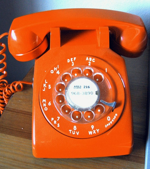 first of all, rotary phone(such a pain waiting), second who in the hell would have a decor to pick this as their phone(my sister, shag rugs too), third the 70's and early 80's anything goes(like an orange phone!)!!those were the days