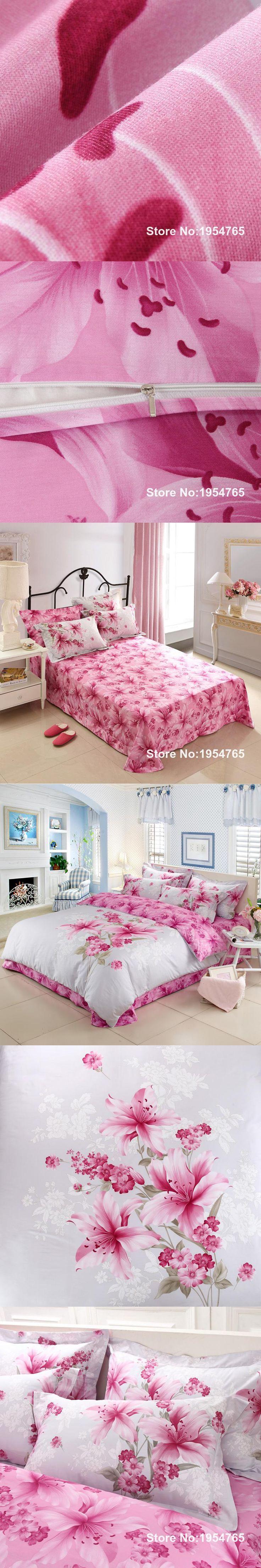 ARNIGU Pink lily Flower 3D printing white Bedding set 100% Cotton Queen King size Duvet/Quilt cover Flat bedsheet pillowcases
