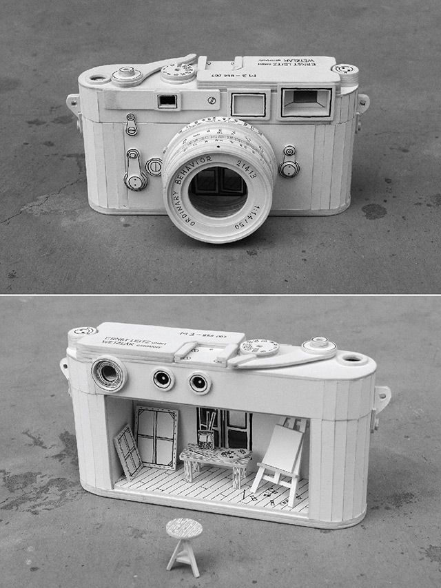 Ordinary Behavior by artist and illustrator Kevin LCK - Cardboard Electronics Containing Absurd Miniature Dioramas. #paper_sculpture #camera #art