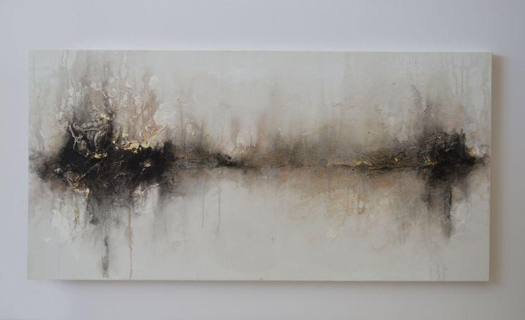 24 x 48 abstracte schilderkunst zwart wit van ArtByCornelia op Etsy