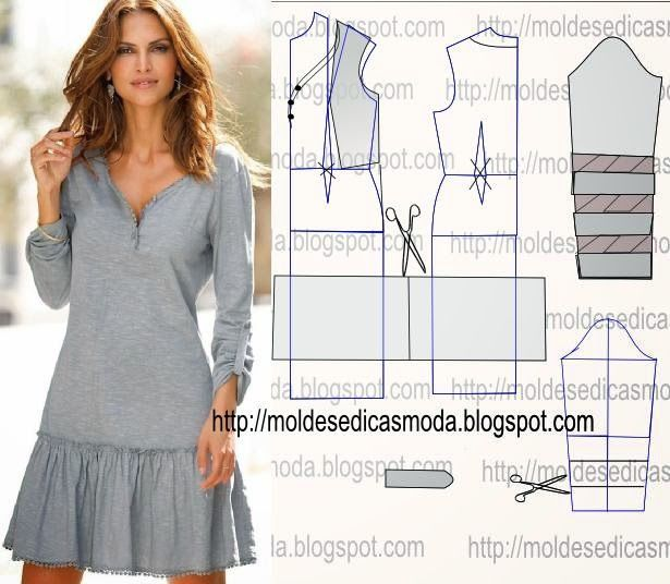 TRANSFORMAÇÃO DE MOLDE VESTIDOS _121 ~ Moldes Moda por Medida: