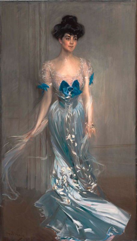 ▴ Artistic Accessories ▴ clothes, jewelry, hats in art - Giovanni Boldini | Portrait of Mrs. Graham Fair Vanderbilt (née Virginia Graham Fair), 1905
