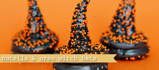 Witch hats, nutella filled bugles dipped in black chocolate melts attached to dipped oreos