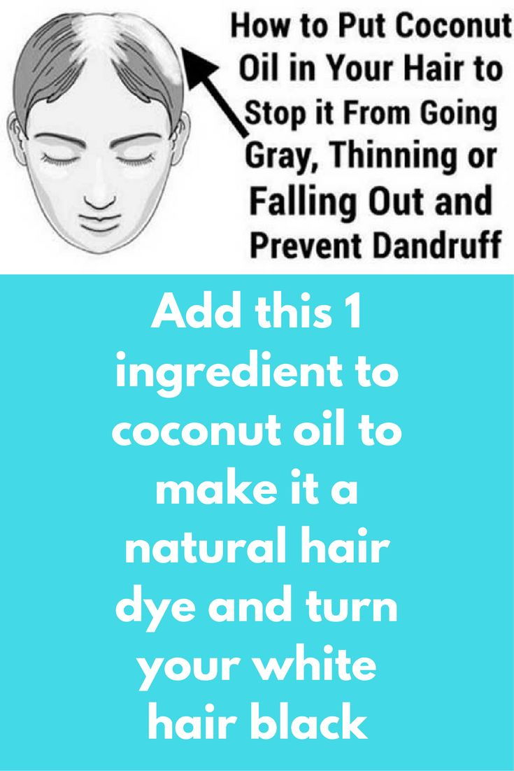 Add this 1 ingredient to coconut oil to make it a natural hair dye and turn your white hair black The color of your hair depends on the pigment cells that are located at the base of each hair follicle. With age, these pigment cells die and their efficiency reduces. When the body stops producing pigments, hair starts becoming colorless, turning white. However, you can prevent gray hair by nourishing your scalp and protecting the …