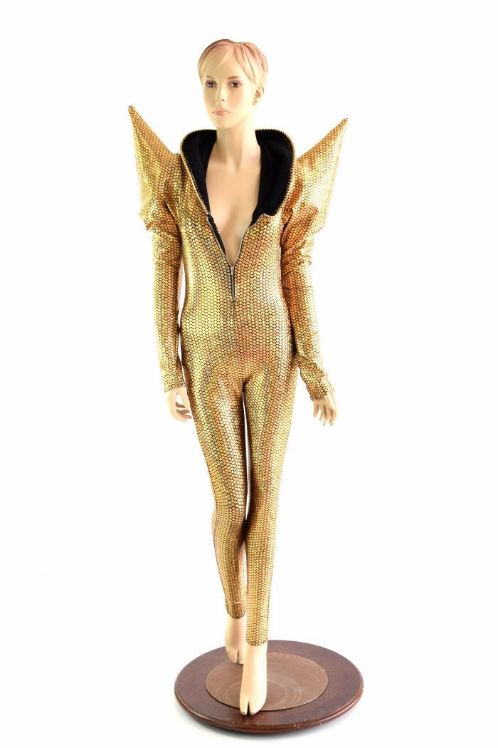 Gold Fish Scale Long Sleeve MEGA Sharp Shoulder Zipper Front Catsuit with Black Soft Knit Lined Hood Festival Jumpsuit Burning Man 152460 by CoquetryClothing on Etsy https://www.etsy.com/listing/398929003/gold-fish-scale-long-sleeve-mega-sharp