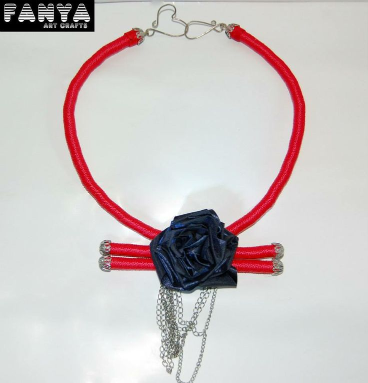 "Statement necklace ""Wild Rose""   Made from paracord and a handmade rose from satin ribbon"