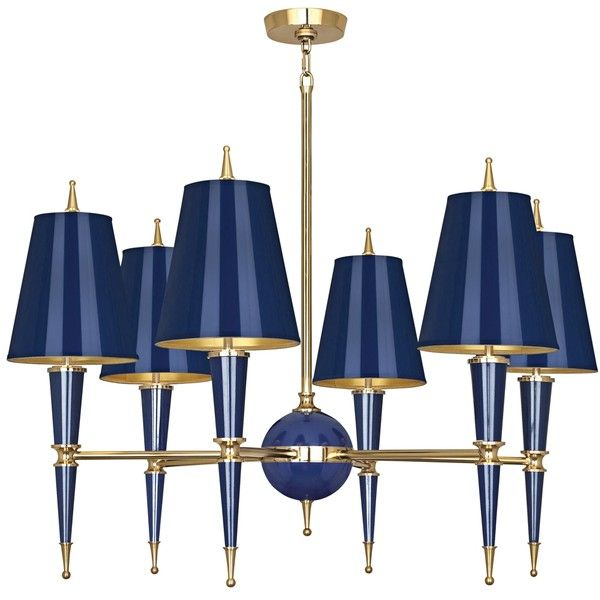 Versailles 36 3 4 W Navy Lacquer And Shade Chandelier 1 369 Liked On Polyvore Featuring Home Lighting Ceiling Lights Blue Shades