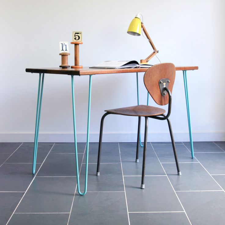 'The Hairpin' Iroko Desk/Table in POWDER BLUE (other colours available)