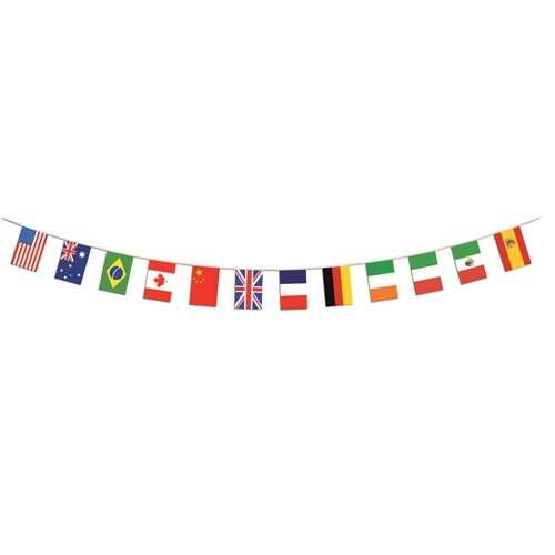 If we could find/make a flag garland, that would be cool (instead of the hearts garland)