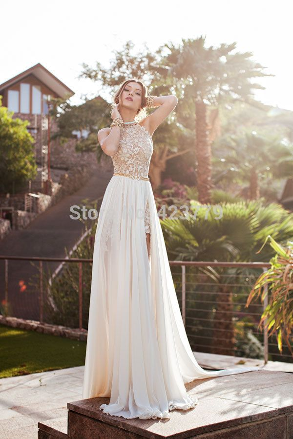 Romantic 2015 Ivory Lace Vestido de Noiva A-line Beaded Halter Sexy Backless High Low Wedding Dress Beach Chiffon