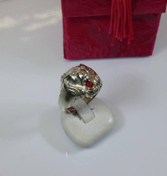 207 mm Ring 835 Silberring Löwe Kopf Rubin SR364 von Schmuckbaron