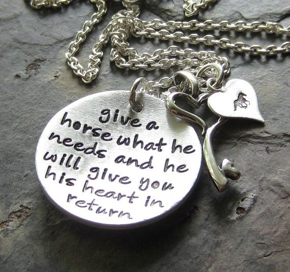 Hand stamped Horse Necklace Sterling by EquineExpressionsbyD, $72.00