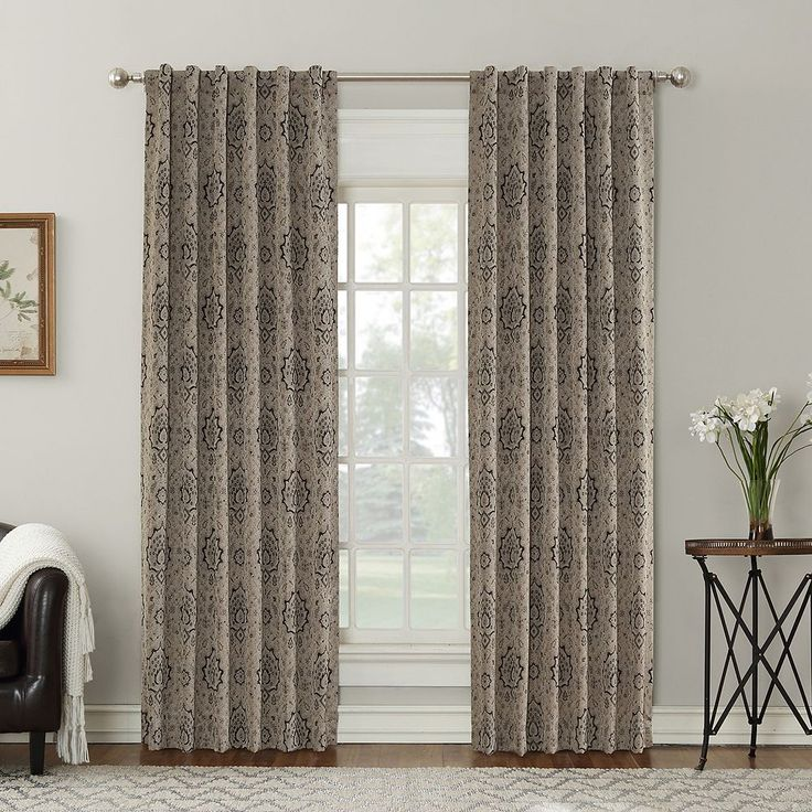 Sun Zero Salazar Blackout Lined Curtain, Beig/Green (Beig/Khaki)