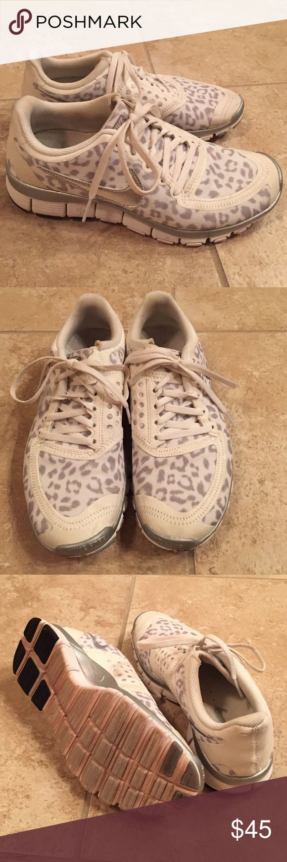 Rare Leopard Nike Free 5.0 Shoes Adorable white/gray leopard Nikes with shiny silver swooshes. Slight wear and the soles are a bit orange from our track surface. Nike Shoes Athletic Shoes