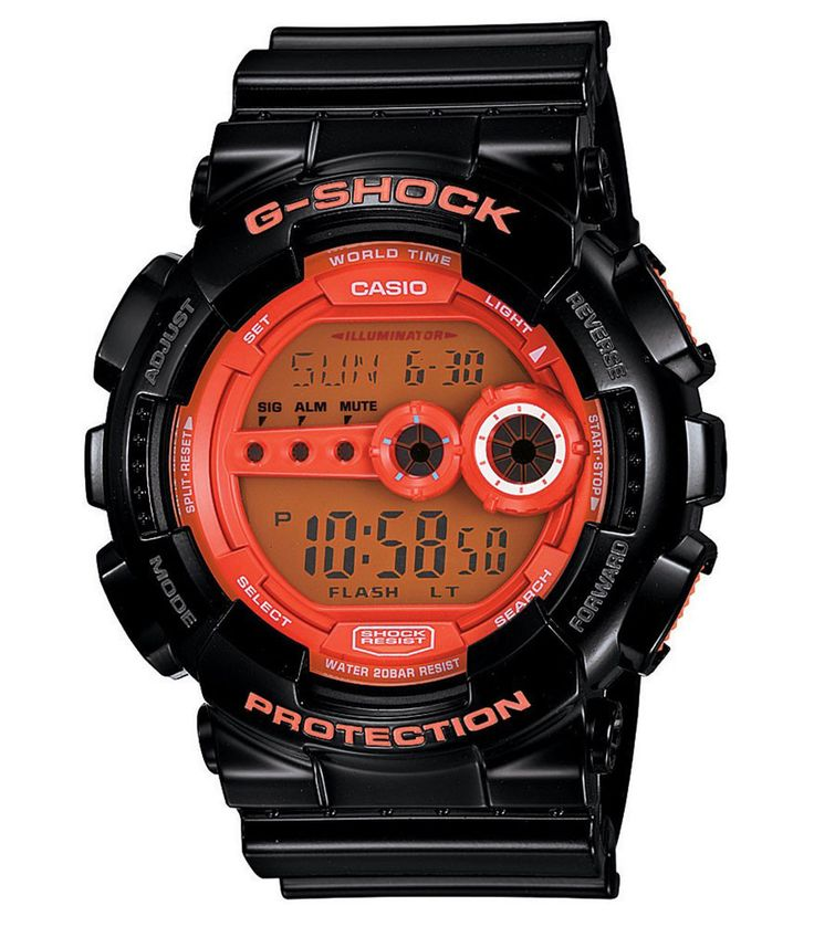 Casio GD100HC-1 Men's G-Shock Orange Digital Dial Black Resin Dive Watch