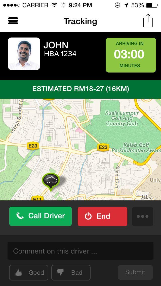MyTeksi - Tracking Drivers