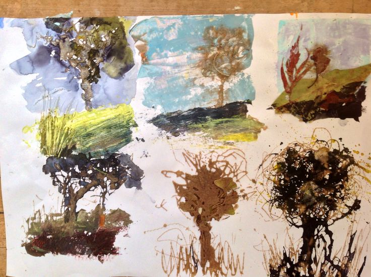 Studio SE22 landscape sketchbook - quick experiments with Pva, sand ink and acrylic