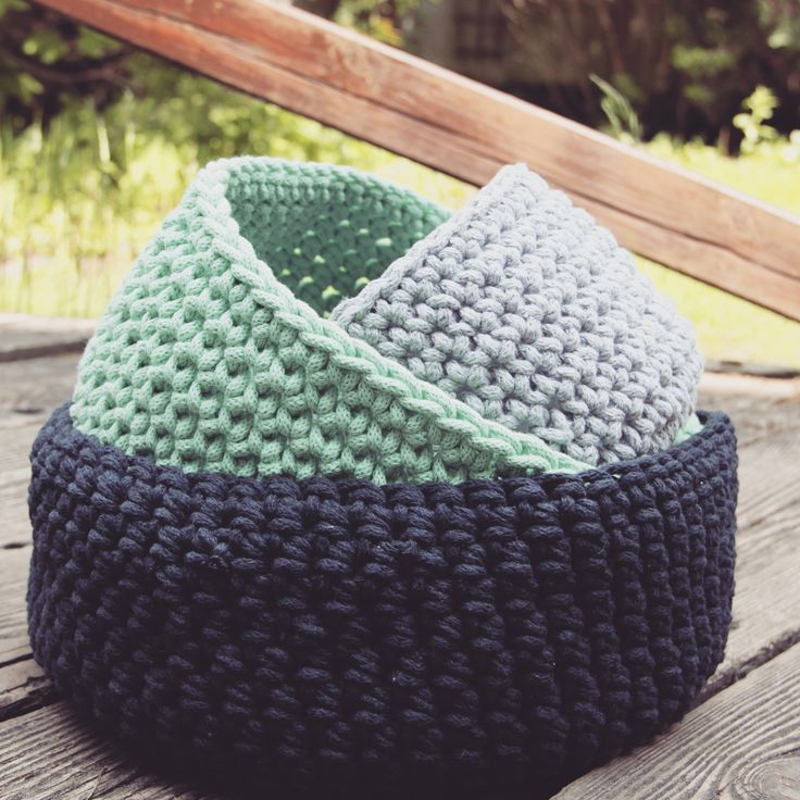 Crochet basket set:) grey, mint and deep blue beautiful colours.