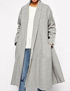 Manteau Aux femmes,Couleur Pleine Grandes Tailles Manches Longues Col de Chemise…