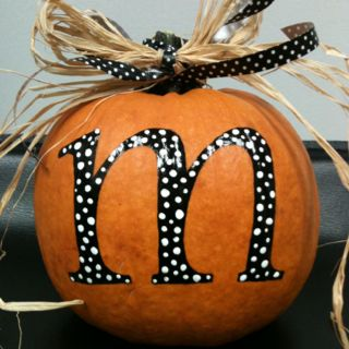 When life gives you pumpkins paint them lol! Monogram Pumpkin :)