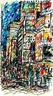 Abstract sketch of a busy Times Square, in New York City, with many people walking through the street...  Brightly adorned with billboards and advertisements, Times Square is sometimes referred to as the Crossroads of the World. This is one of the world's busiest pedestrian routes, and the heart of the Broadway Theater District. Art by Kirstin McCoy www.kirstinmccoy.com