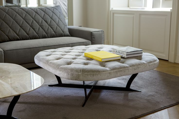 #RICHARD #SOFT #CONTROLUCE - #HOME #ITALIAN #FASHION #Modern #interpretation of the #classic #quilted for the #seat,  #metal for the base, upholstered small tables Richard (round and square) are at the same time a small seat and a practical top which supports the sofa.