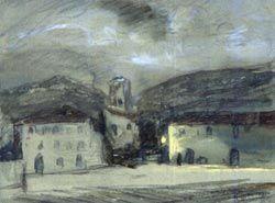 Case di notte, Angelini Pietro, pastello su carta bianca, cm 230x310, 1926