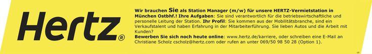 Stellenbezeichnung: Kundenberater / Stationsleitung für HERTZ-Vermietstation m/w in München Ostbahnhof  Arbeitsort: 80331 München Bayern, Deutschland  Weitere Informationen unter: http://stellencompass.de/anzeige/?id=139463