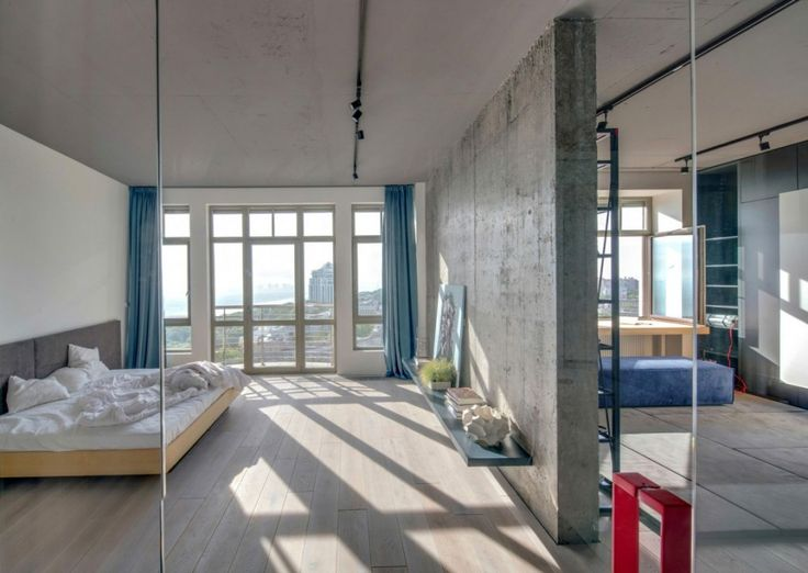 Loft: Cool Urban Loft in Kiev, Ukraine Designed by 2B Group, Minimalist Urban Loft Master Bedroom Design with Wooden Queen Sized Platform Bed and White Bedding and Exposed Concrete Wall and Floating Shelf and Wooden Floor