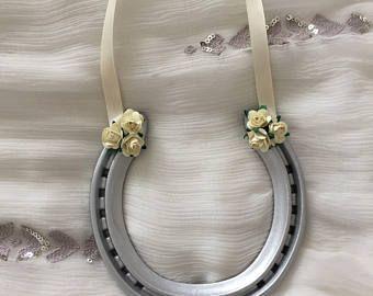 Ivoren bruiloft hoefijzer, goed geluk bruid, gebruikte hoefijzer, traditionele huwelijksgeschenk, Flowergirl Gift