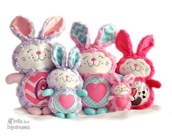 Bunny Rabbit Embroidery Machine ITH Sewing Pattern Easter Softie Stuffie Plush Toy DIY Quick Easy