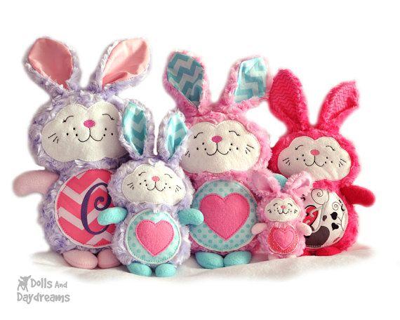 Bunny Rabbit ricamo macchina ITH Pattern di DollsAndDaydreams