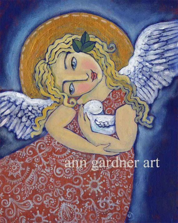 Peaceful Embrace Angel with Dove Art Print 8X10 by Ann by annzania