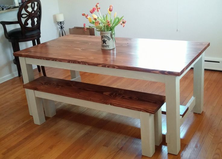 Farmhouse table with a stretcher solid wood kitchen table for Solid wood farmhouse table