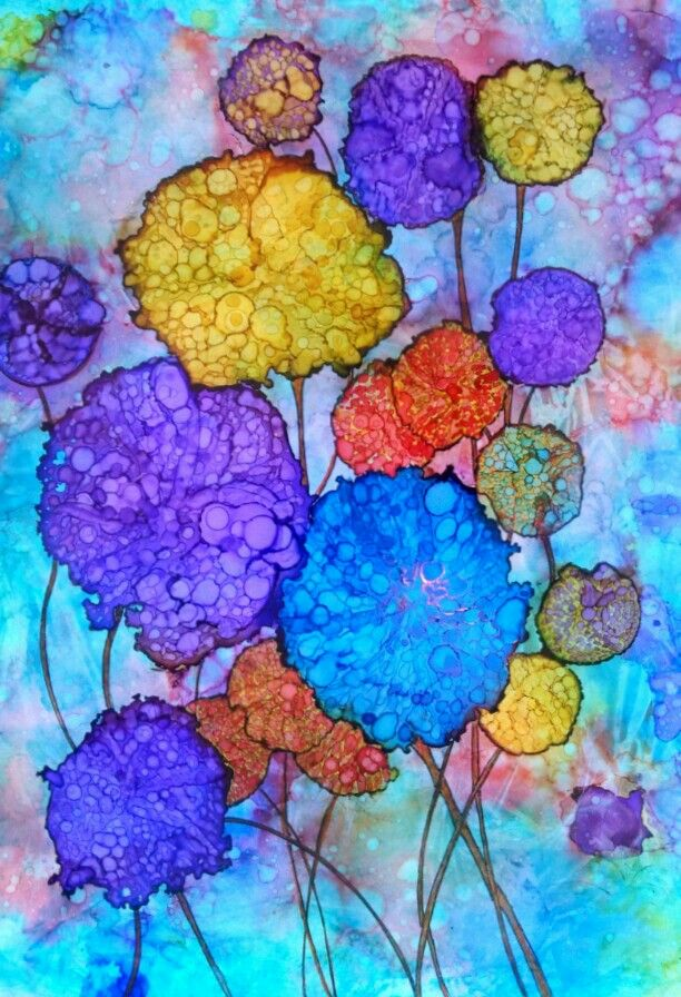 Alcohol Ink on Yupo paper. by Donna Whiteside at Barking Dog Gallery