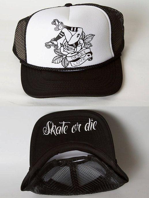 Roller Derby Love / Skate or Die/ Trucker Hat by Representartco