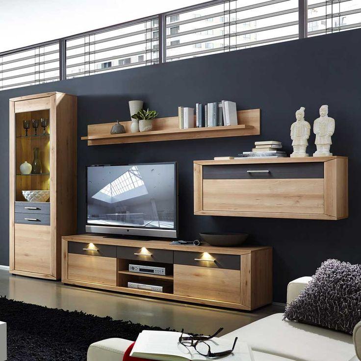 Wohnwand In Buche Grau LED Beleuchtung 4 Teilig Jetzt Bestellen Unter Moebelladendirektde Wohnzimmer Schraenke Wohnwaende Uid4e8a14dc 966c
