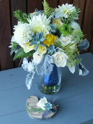 white dahlias & succulents w/ yellows, greys, & blue